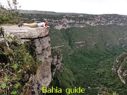 View atop the 380m high Fumaça waterfalls while visiting Chapada Diamantiana national park with Ivan Salvador da Bahia & official tour guide
