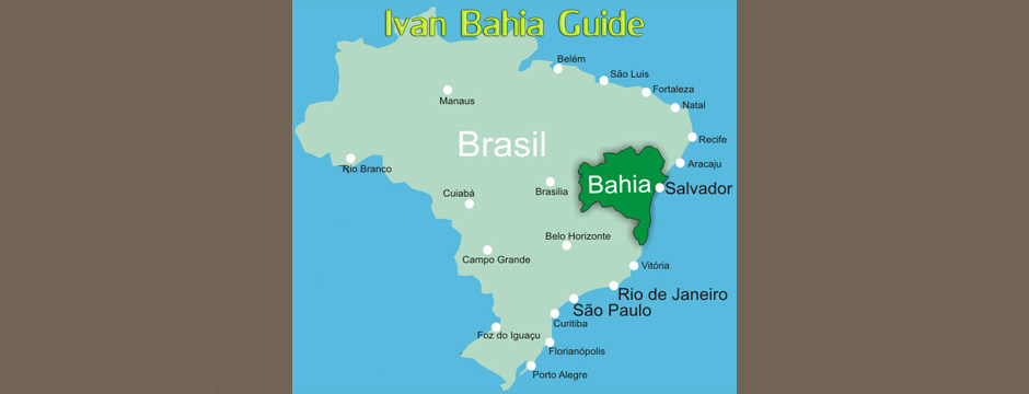 Ivan Salvador & Bahia tour-guide / reis-gids - Map of Bahia in Brazil