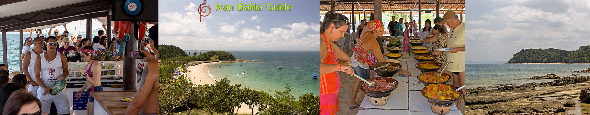 Ivan Bahia Guide - boating day on All Saints Bay / Baia de Todos os Santos, visiting the islands Frades and Itaparica with a traditional schooner (samba music on board)